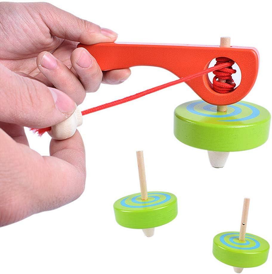Color al Azar LIOOBO 1Pz Peonza Mano Peonza Hecha Mano Madera Colorida con Cable de Cuerda para Adolescentes Regalo Ni/ños