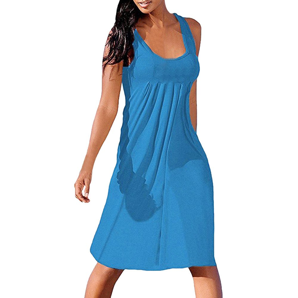 Zackate Womens Summer Casual Sleeveless Mini Printed Vest Dresses