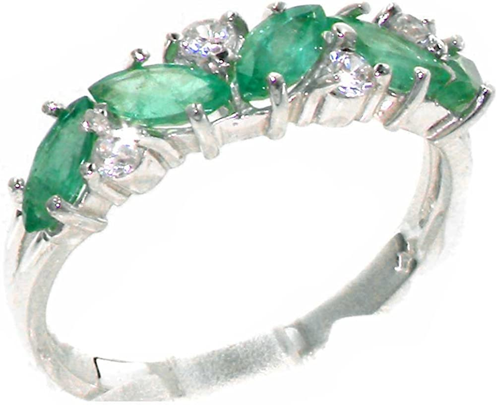 925 Sterling Silver Cubic Zirconia & Real Genuine Emerald Womens Eternity Ring
