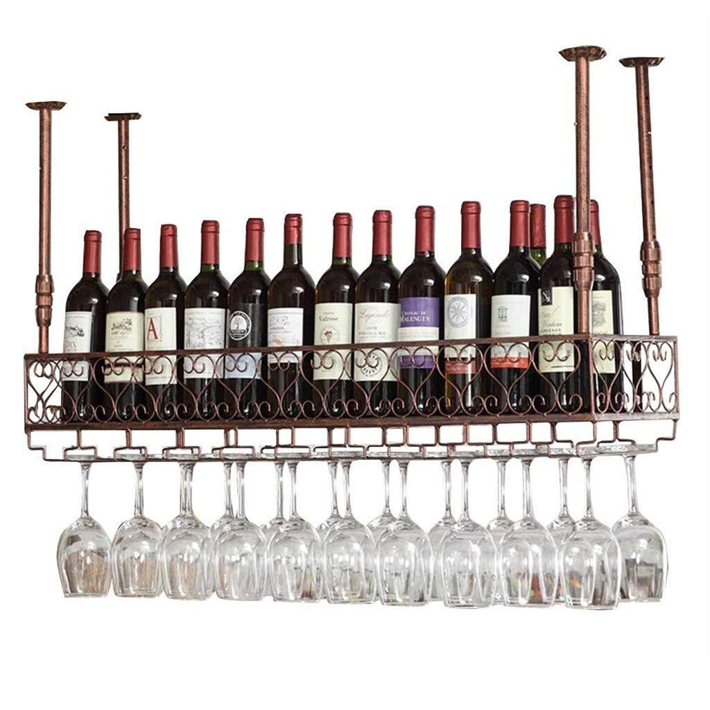 Estante del Vino del Hierro del Metal tamaño 120 × 25cm YDDZ Cubilete portabotellas de Pared de Metal Estante del Vino del Techo Estante del Vino de Altura Ajustable