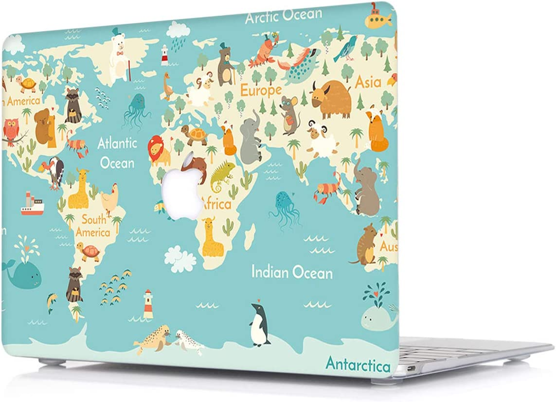 Laptop Case for Apple MacBook Air 11.6 Inch Model A1465/A1370 - L2W Plastic Print Pattern Protective Hard Cover Shell,Animals Map