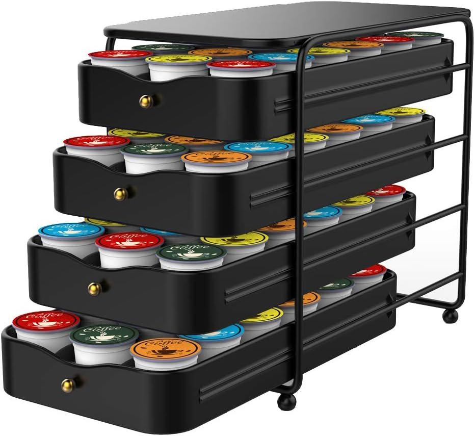 Everie 4-Tier Coffee Pod Storage Holder Organizer Drawer for 72 K Cup Pods (Black)