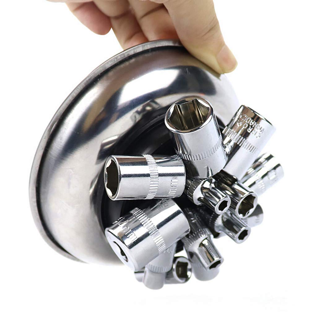 Silver, 3IN YunZyun Magnet Trays Magnetic Nut and Bolt Tray Round Magnetic Trays Tools Parts Tray Holder Magnetic Metal Parts,Keeps Parts and Tools from Being Misplaced Or Lost While Working