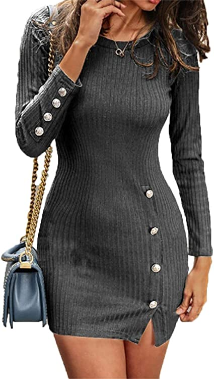 Sunnykud Damen Elegant Pulloverkleid V-Ausschnitt Strickkleid Tunika Kleid Business Bodycon Langarm Winterkleid Bleistiftkleid Gesch/äft Langer Rock mit G/ürtel