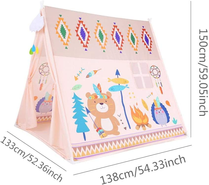 Yunhigh-uk Nueva Tienda Tipi para ni/ños ni/ños Grandes Play House Indian Carpa Girl Boy con una Correa para el Hombro para jard/ín Interior al Aire Libre 150x133x138cm