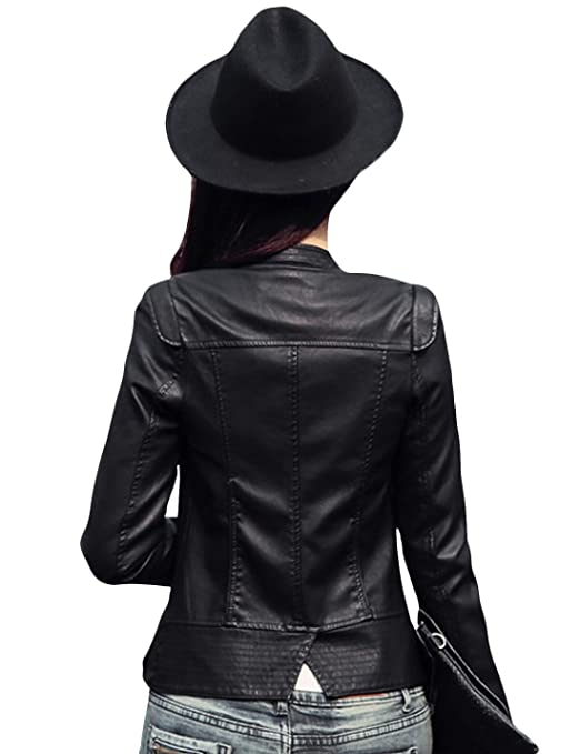 Tanming Womens Zip Up Faux Leather Moto Biker Jacket