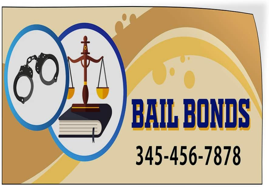 Custom Door Decals Vinyl Stickers Multiple Sizes Bail Bonds Phone Number Handcuffs Business Bail Bonds Outdoor Luggage /& Bumper Stickers for Cars Brown 69X46Inches Set of 2