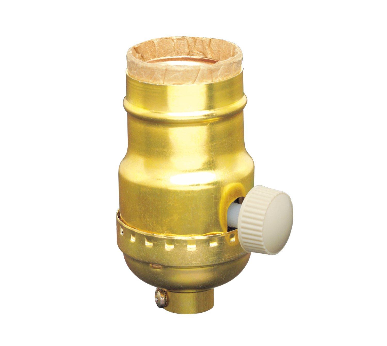 Leviton 6151 Incandescent Lamp Holder Socket Dimmer, Metal Finish, Brass Color