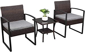 VINGLI 3 Pieces Rattan Patio Sets Bistro Conversation Chair Indoor Outdoor Modern Wicker Garden Furniture Set with Coffee Table-All Weather (Brown)