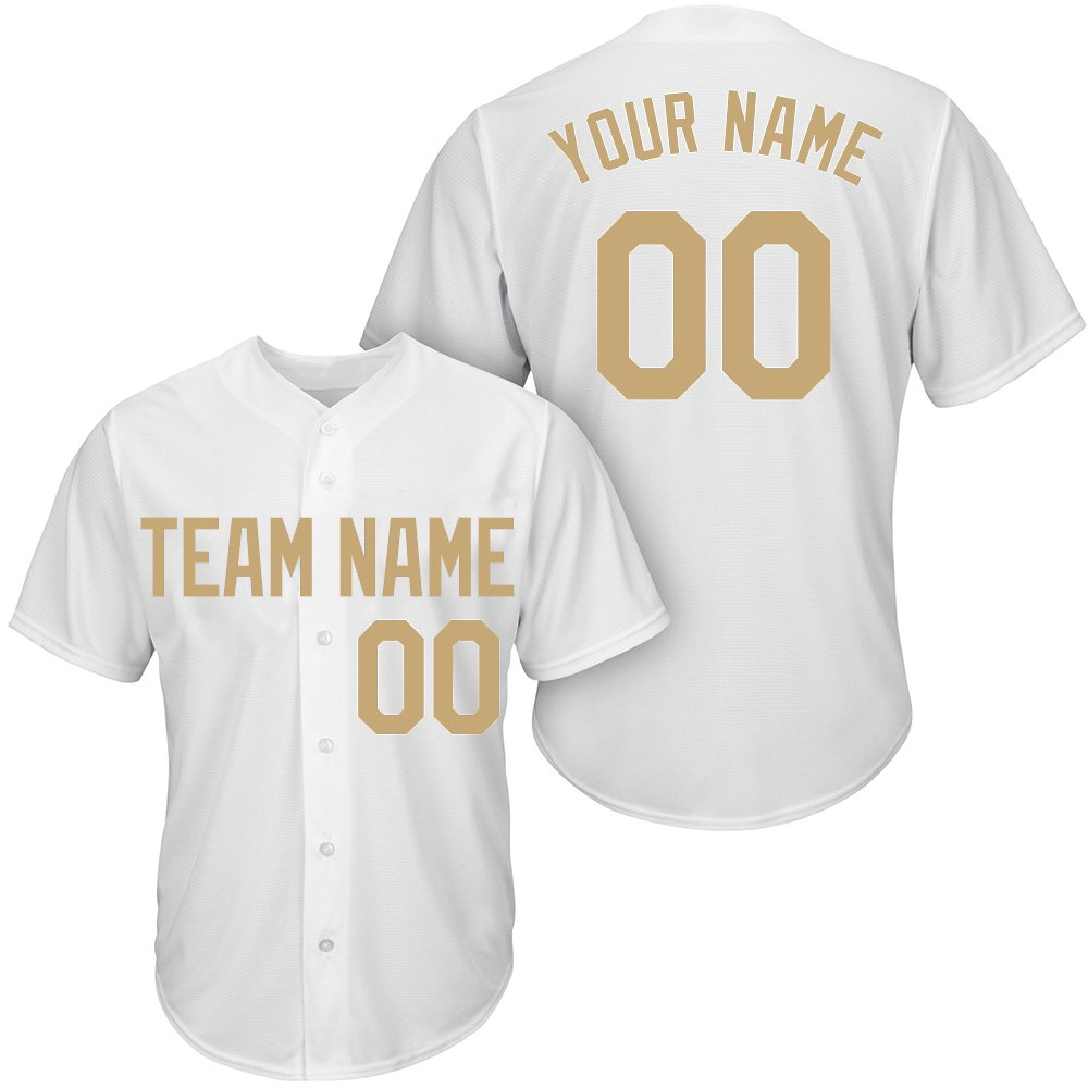 Custom Youth White Mesh Baseball Jersey with Embroidered Team Name Player Name and Numbers,Gold Size 3XL by DEHUI