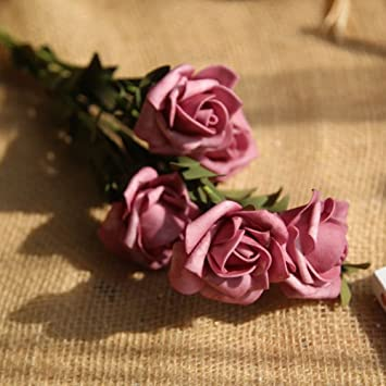 Mi Guoer 10 rosas secas con 5 cabezas de rosas en cada pieza de polietileno rosa falso flor para centros de mesa de boda decoración de jardín: Amazon.es: ...