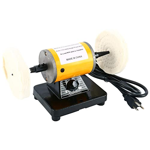 YaeTek Dual 4-1 4 Polisher Polishing Buffer Buffing Bench Top Machine Jeweler Mini Jewelry Bench Polisher