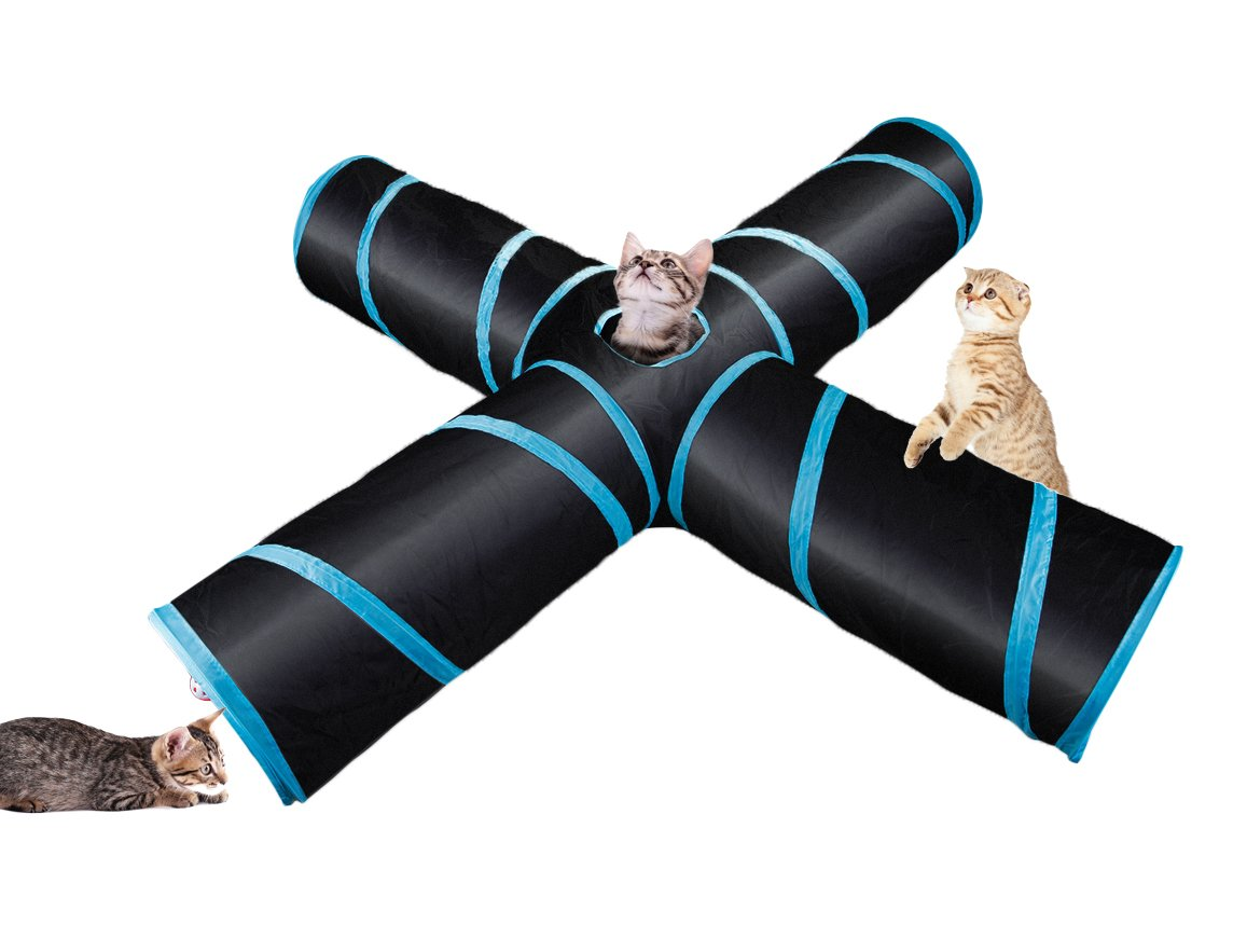 Pet Code Upgrade 4 ways Cat Toy Tunnel With Ball for Cats and Puppies (Blue)