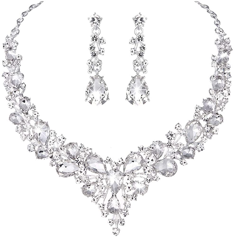 Molie Youfir Bridal Austrian Crystal Necklace and Earrings Jewelry Set Gifts fit with Wedding Dress