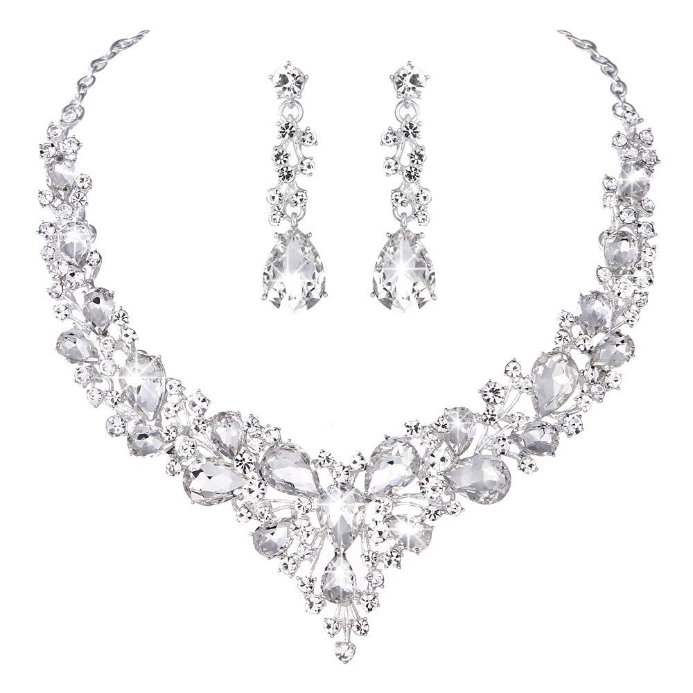 Youfir Bridal Austrian Crystal Necklace and Earrings Jewelry Set Gifts fit with Wedding Dress(Clear) by Youfir