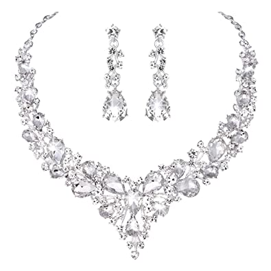 b3939fd965 Youfir Bridal Austrian Crystal Necklace and Earrings Jewelry Set Gifts fit  with Wedding Dress(Clear