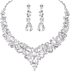 V461 S Crystal 18K GP Red CZ Earrings Bracelet Necklace Set Ring Size 8