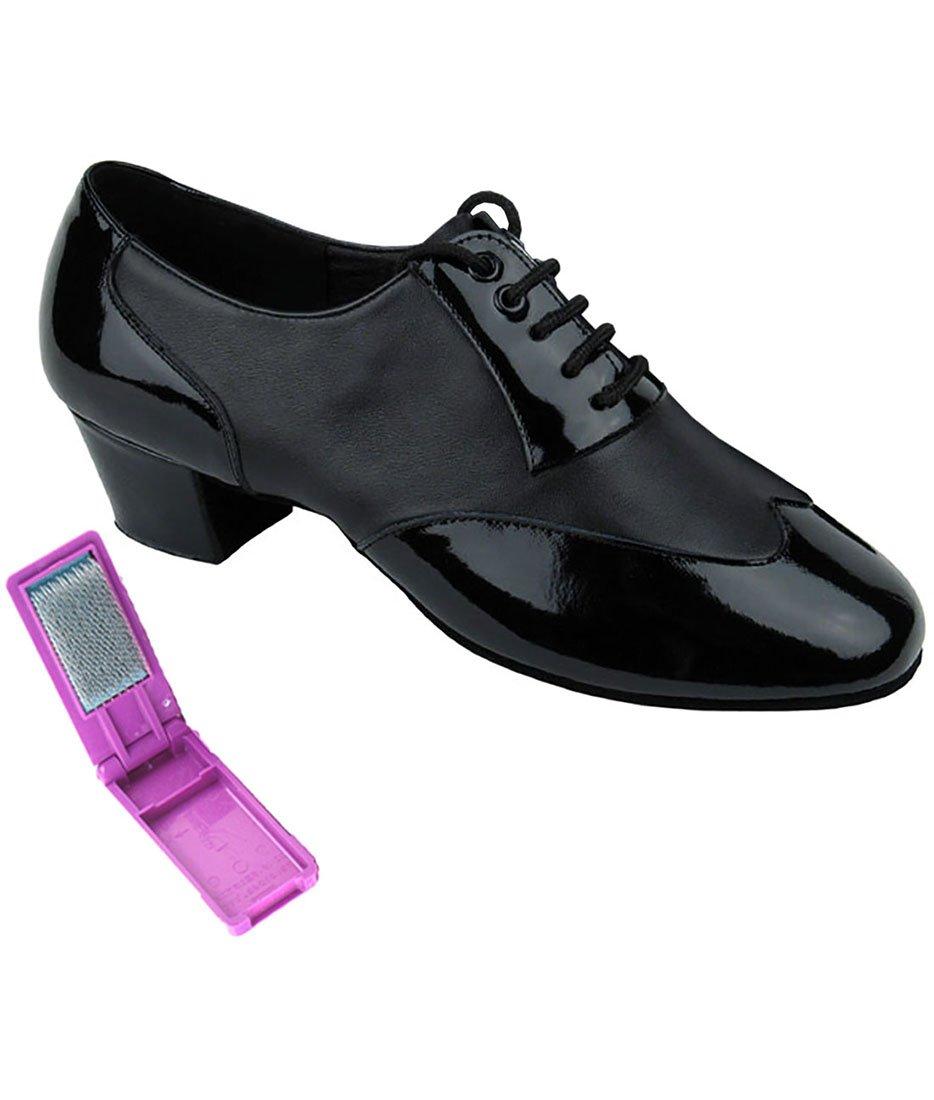 Very Fine Ballroom Latin Tango Salsa Dance Shoes for Men CM100101 1.5 inch Heel + Foldable Brush Bundle - Black Patent-Black Leather - 9.5