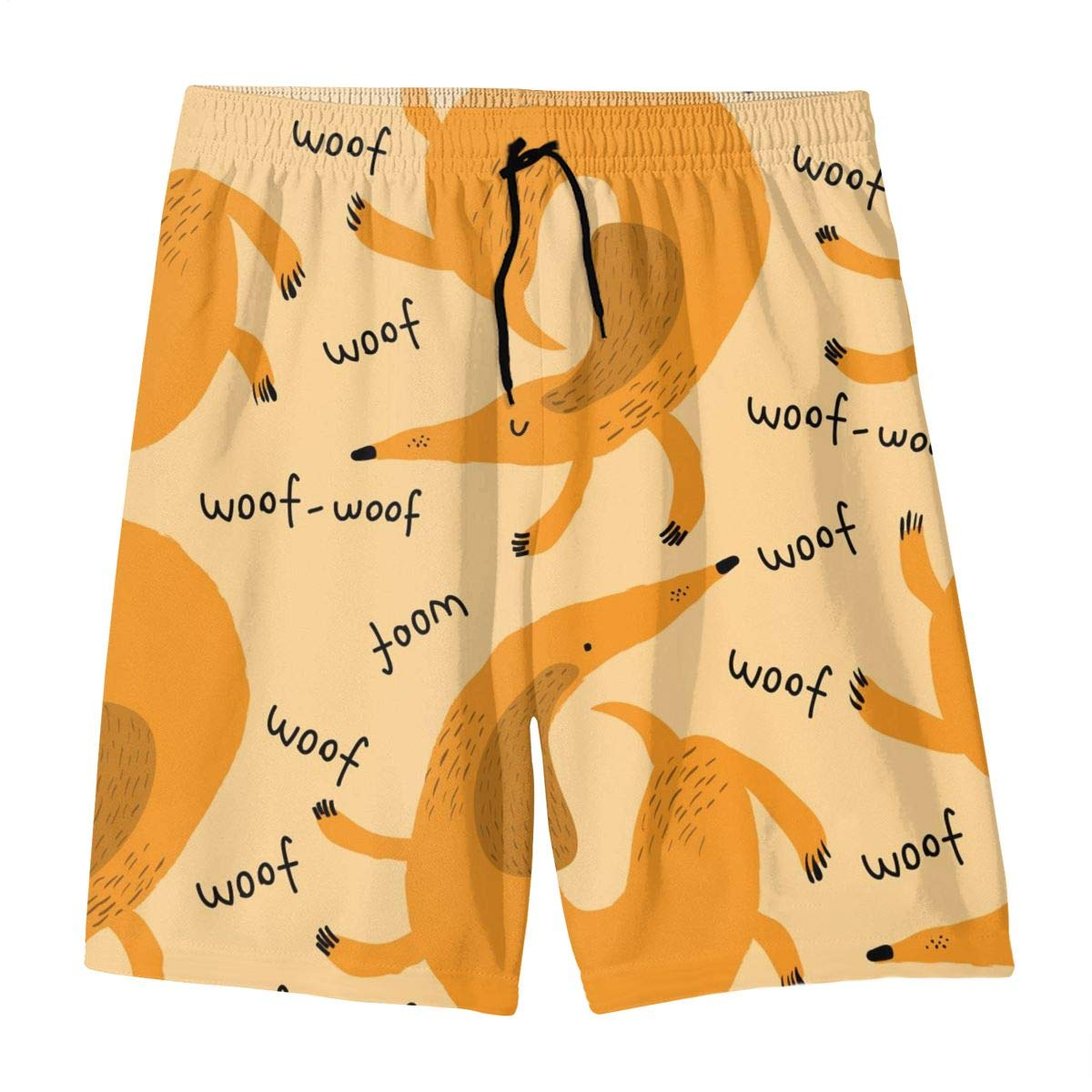 Mens Swim Trunks Yellow Dachshund Printed Beach Board Shorts with Pockets Cool Novelty Bathing Suits for Teen Boys