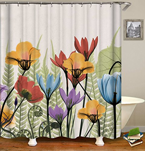 Dynabit Watercolor Floral Fabric Shower Curtain Set, 72