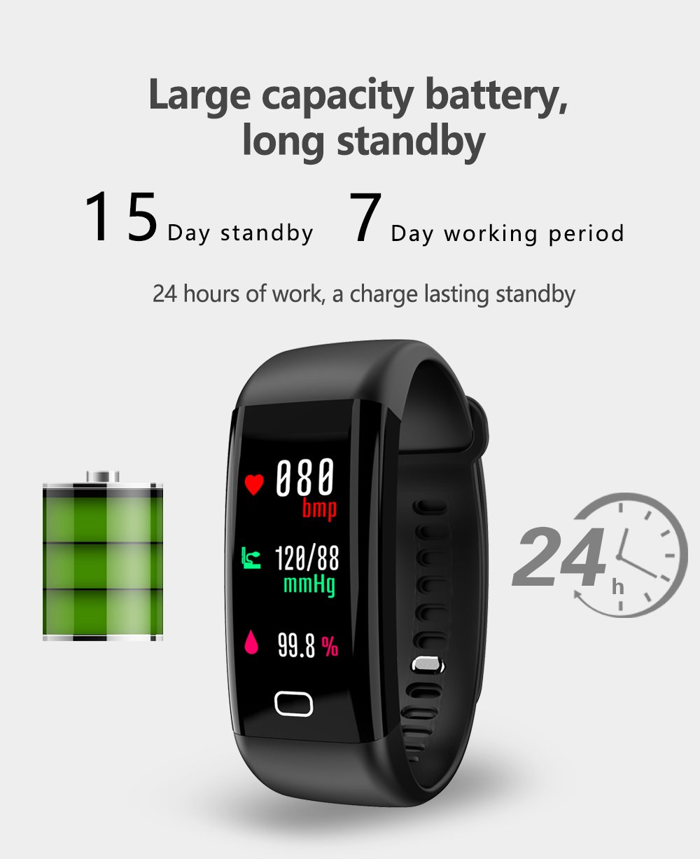 Amazon.com: Kapel Fitness Tracker IP68 Bluetooth 4.0 Touch Screen OLED Color 0.96 Inch Battery 110mAh Pedometer, Pressure Monitor, Sleep Monitor, ...