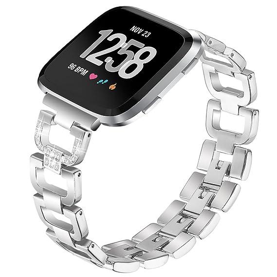 Correa de repuesto para Fitbit Versa, lujosa cadena de cristal brillante de PUGO TOP de
