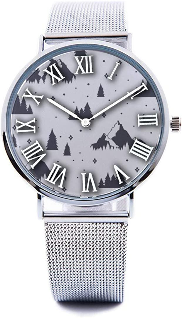 Unisex Fashion Watch The Mountains are Conquering Scandinavian Style Mountaineering and Travel Print Dial Quartz Stainless Steel Wrist Watch with Steel Strap WatchbandFor Men Women 40mm Casual Watch