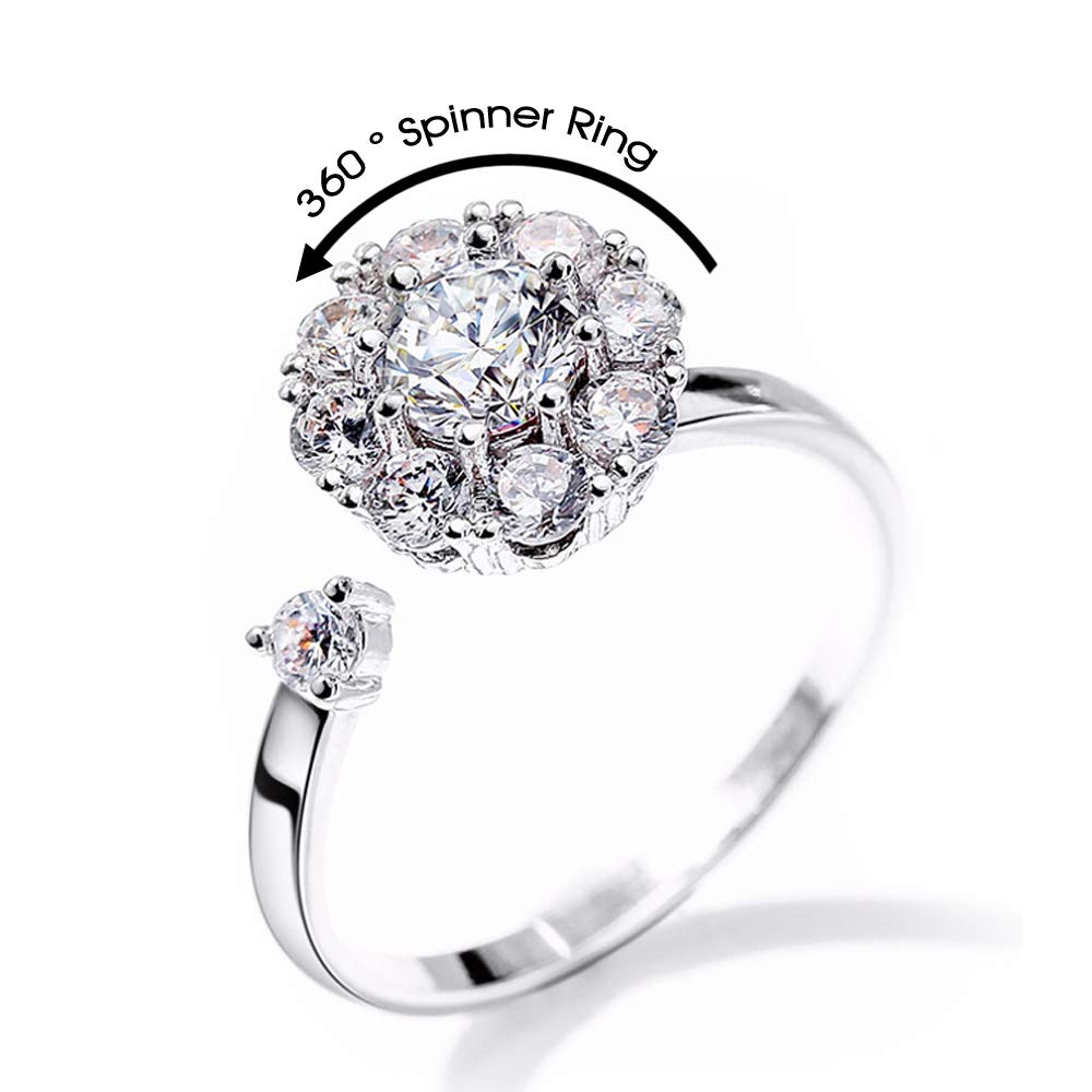 LAOFU 925 Sterling Silver Ring Cubic Zirconia Semi-Mounted Rings with Rotating Bearing Fidget Spinning Rings for Women 14k White Gold