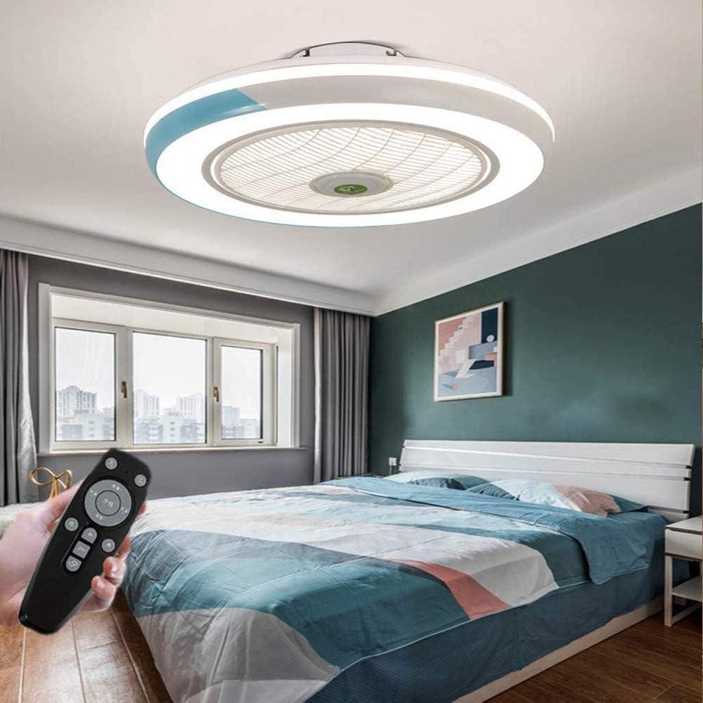 Ventilador de techo LED con lámpara Ventilador invisible moderno Luz de techo Ventilador de techo ultra silencioso con iluminación Comedor Dormitorio Sala de estar Lámpara de techo (blue)