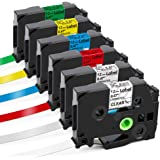 Label KINGDOM Compatible Labels Replacement for Brother P Touch Label Maker Tape TZe Tape 12mm 0.47 Inch Laminated (Black on White/Clear/Red/Blue/Yellow/Green) for PTD210 PTH110 PT1290 PT1280, 6-Pack