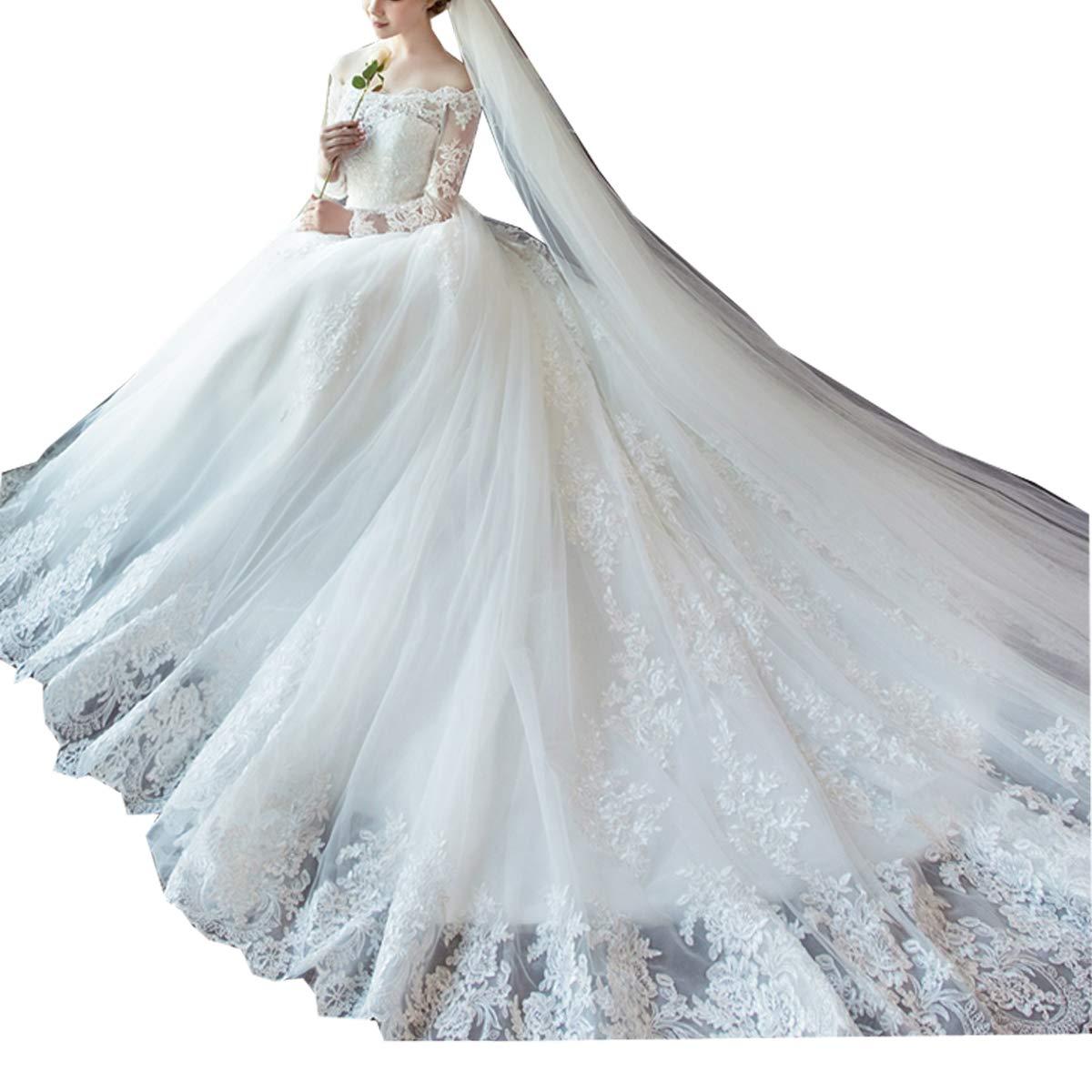 GFDress Womens Off Shoulder Long Sleeves Wedding Dress Brial Gowns Ourdoor Dress Elegant Church Ball Gowns