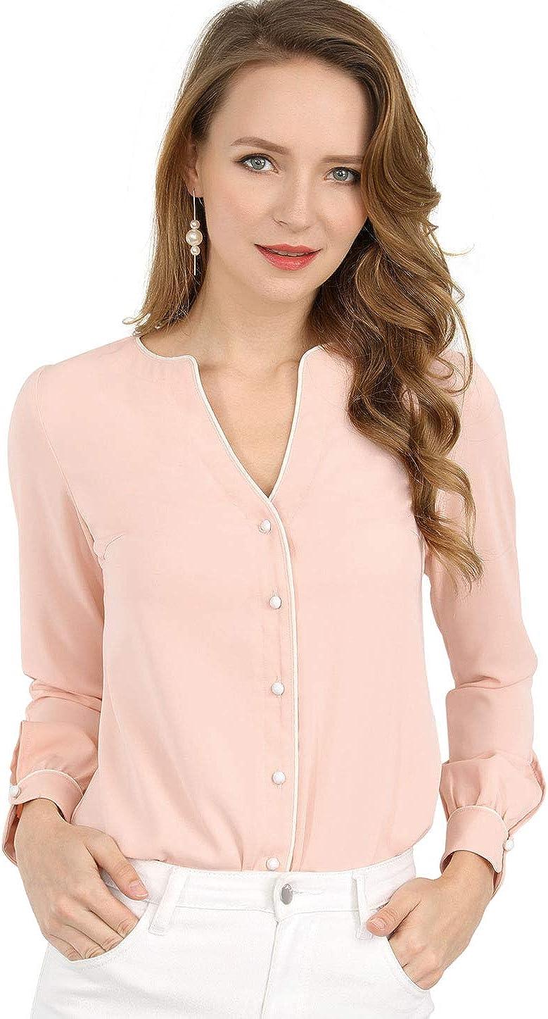 Allegra K Women's Work Office Button Down Long Sleeves V Neck Elegant Blouse Tops