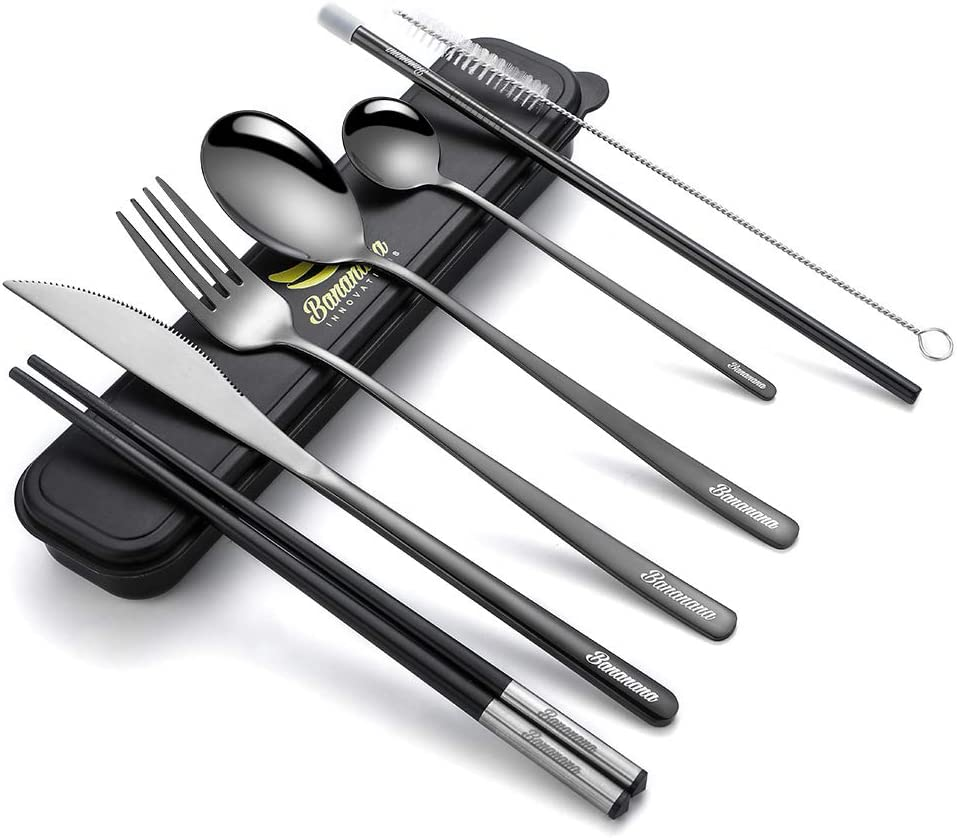 Reusable Utensil Set, Portable Travel Cutlery Kit with Compact Carry Case for Office Lunch Camping School Picnic, 9-pieces Including Knife Fork Spoon Chopsticks Straw Brush (Black)