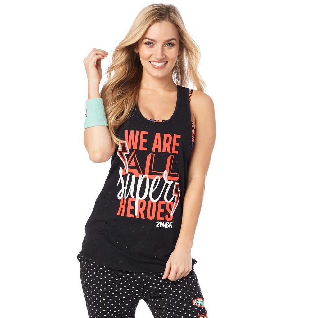 Zumba Women's Graphic Design Loose Workout Muscle Tank Top