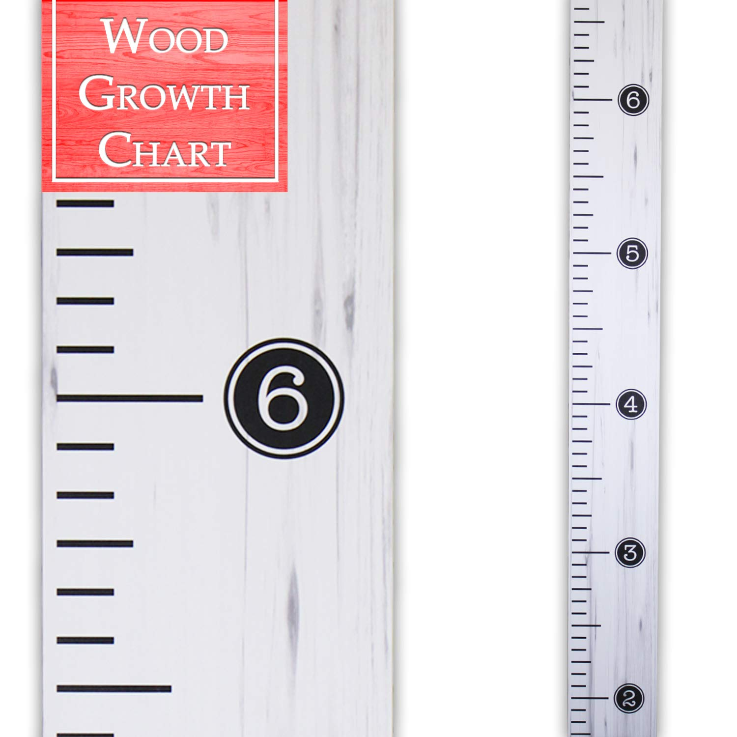 Back40Life   Distressed Typewriter - 60'' Premium Wooden Growth Chart Ruler (Weathered White)