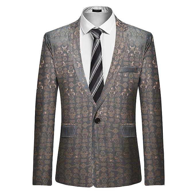 Chaqueta de Traje para Hombre, Trajes de Chaqueta de Boda de Fiesta para Hombre Blazer Clásico de Lujo Slim Fit Solo Pecho Elegante Formal de Negocios ...
