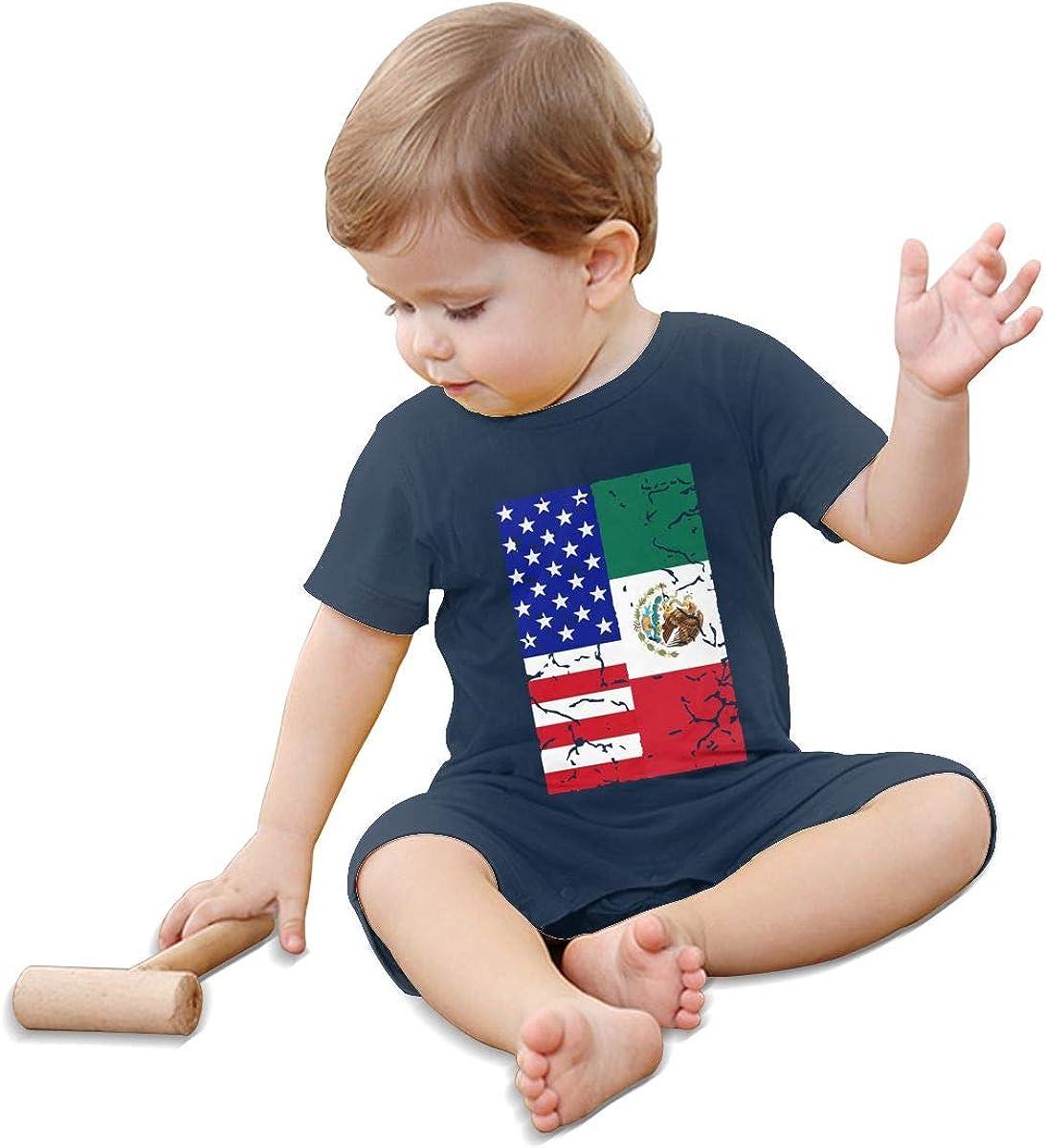 Mri-le1 Newborn Baby Organic Coverall USA Mexico Flag Kid Pajamas