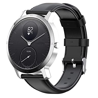 Disscool Replacement Bands for Nokia withings Steel hr/Nokia Steel/Nokia Steel HR(40mm), 20mm Width Soft Genuine Leather Strap for Nokia withings ...