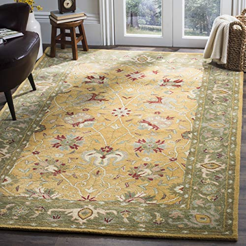 Safavieh Antiquities Collection AT21C Handmade Traditional Oriental Gold Wool Area Rug (5' x 8') (Green Wool Rugs)
