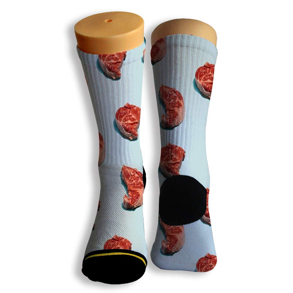 Basketball Soccer Baseball Socks by Potooy Some flavors of Meat 3D Print Cushion Athletic Crew Socks for Men Women