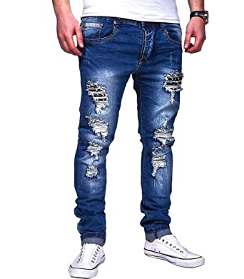 75bfa16c2a065 Justing - Jeans Homme Skinny déchiré Jeans 1203 Bleu - US 38 - Bleu ...