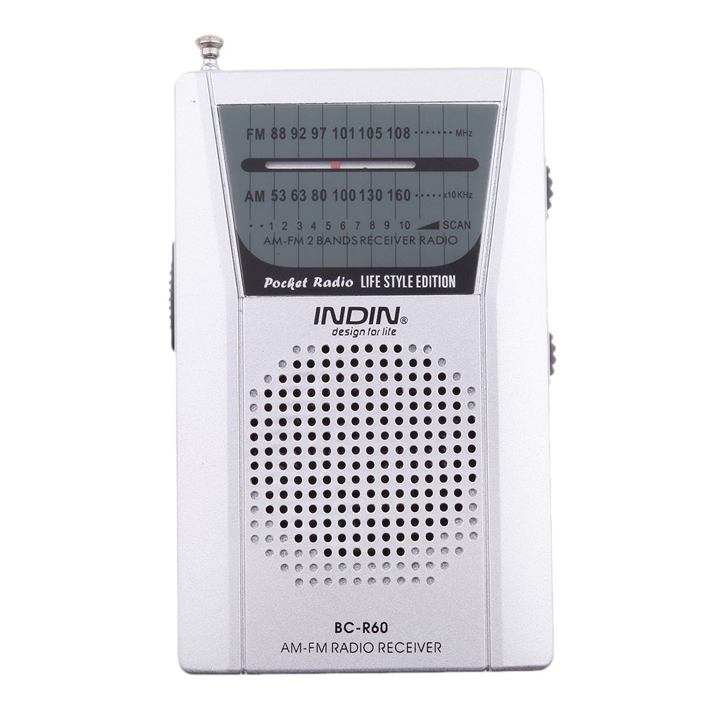 IPOTCH BC-R60 Mini Portatile 2 Band AM FM Radio FM 88-108 MHz, AM 530-1600 KHz per Escursionismo Corsa Equitazione