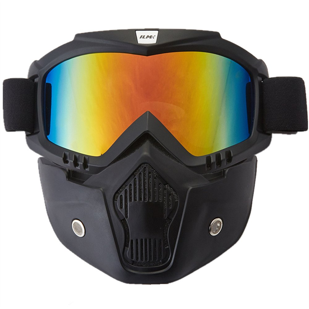 ILM Motorcycle Helmet Riding Goggles Glasses With Removable Face Mask Fits for Powersports Airsoft Paintball (Colorfull)