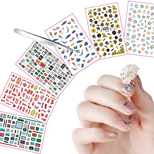 Nail Stickers Decals Nail Wraps Tip 300+ Designs with Straight Tweezers for Women Girls Kids, VIWIEU 3D Salon Quality Self Adhesive Fall Fake Nail Decoration Valentine
