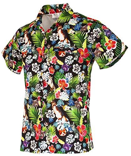 Funny Guy Mugs Womens Cat Hawaiian Print Button Down Short Sleeve Shirt, Large ()