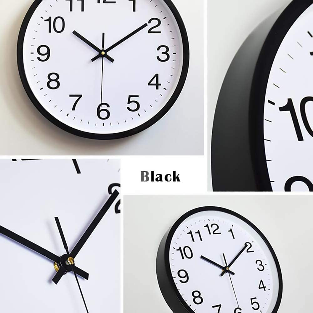 October Elf Silent Wall Clock 12 Inch Non Ticking Clock Quartz Battery Operated Round For Living Room Bedrooms Office Kitchens Class Room Blue