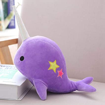 wondergirls Fabulous 25cm/35cm Cute Plush Narwhal Shark Toys Stuffed Animals Unicorn Pillow Doll Perfect Party Gift or Bedtime Friend for Boys & Girls( Medium Purple)
