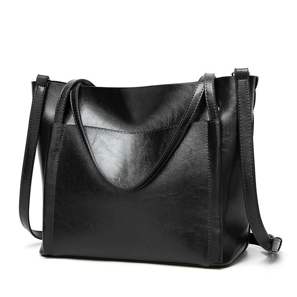 Fayland Women Stylish Leather Hobo Handbags Large Capicity Messenger Shoulder Bag Satchel Tote Bags Black