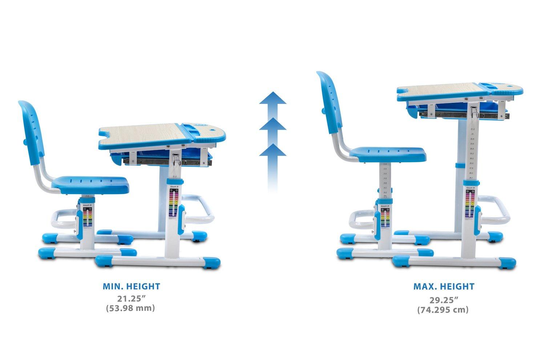 Mount-It! Children's Desk and Chair Set, Kids School Workstation, Height Adjustable, Blue by Mount-It! (Image #3)
