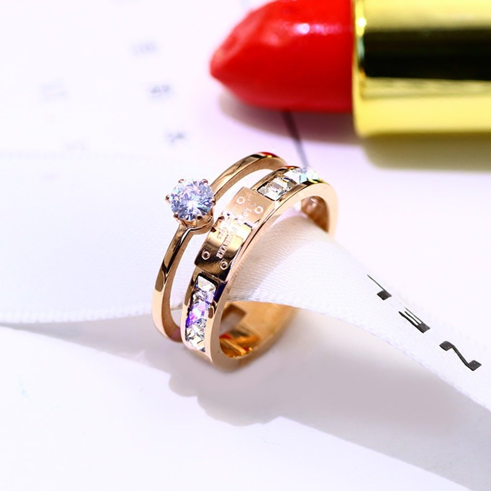 Qindishijia Love Double Zircon Ring-Rose Gold Titanium Retro Eternal Love Ring(Size:7) by Qindishijia (Image #1)